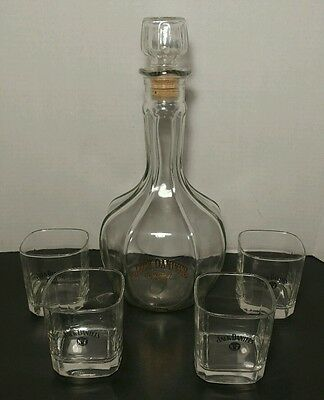 Jack Daniels Old No.7 Whiskey Decanter  Gold Lettering With 4 Whiskey Glasses