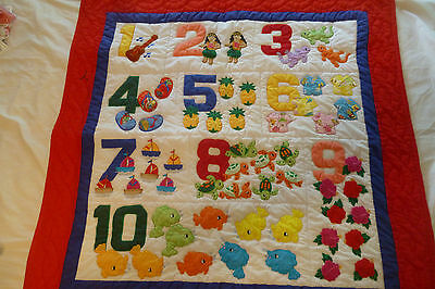 """Numbers quilt baby crib blanket hand quilted wall hanging 40""""x40"""""""