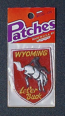 Vintage Voyager Wyoming State Sheild - Bronco - Let'er Buck - Iron-On Patch