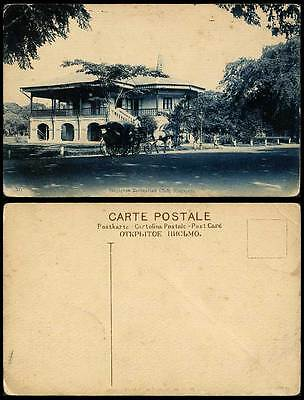 Singapore Recreation Club, Horse Drawn Carriage Street Scene Malaya Old Postcard