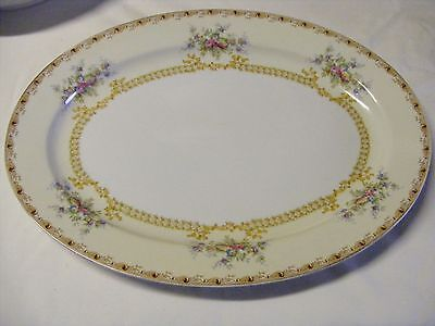 """Vtg Meito China 16"""" Oval Platter Gold Edge Yellow Floral Rim & Verge"""