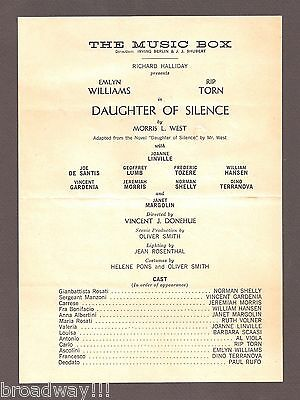 "Rip Torn ""DAUGHTER OF SILENCE"" Emlyn Williams 1961 FLOP Preview Playbill"