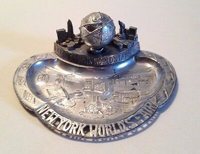 1964-65 New York World's Fair Unisphere and Exhibits Metal Ashtray (GM, Ford)