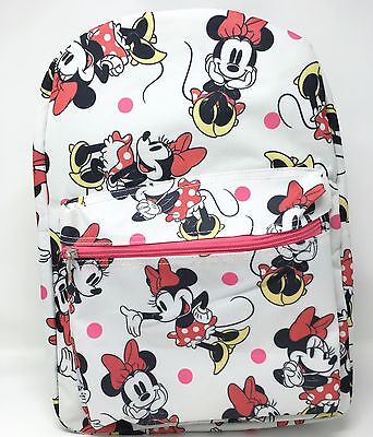 """Disney Minnie Mouse Allover Print 16"""" Girls Large School Backpack-white"""