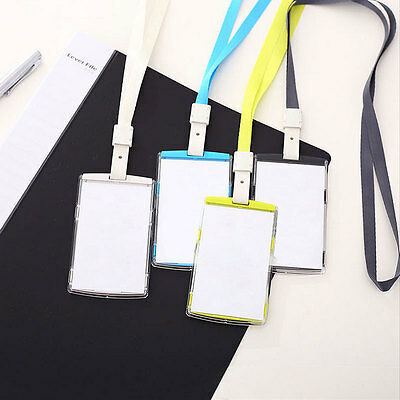 Vertical Transverse Clear Plastic ID Name Card Holder Work Badge with Lanyard