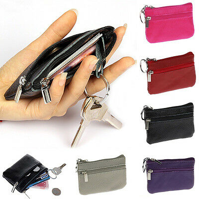 Women Men New Genuine Leather Zip Coin Purse Mini Money Wallet Key Pouch