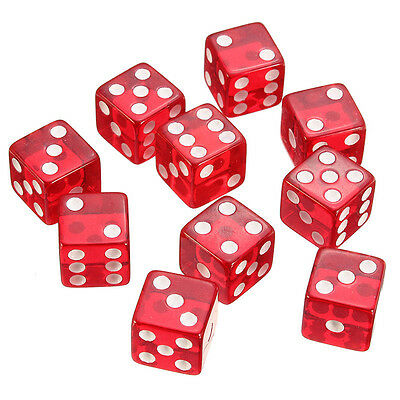 10 Dice Six Sided Red Casino Role Playing Games Accessories Toys Acrylic D6