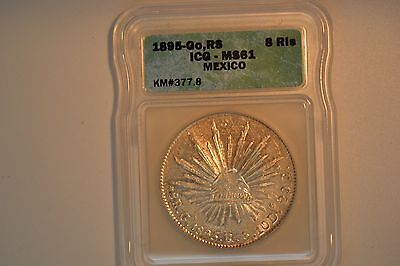 Mexico: 1895-Go, RS 8 Reales- ICG MS-61.  KM#377.8