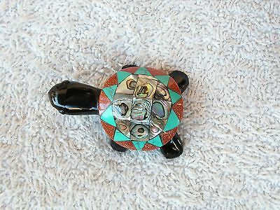 Turtle Obsidian Stone Inlaid Of Abalone Shell &  Natural Stone New.