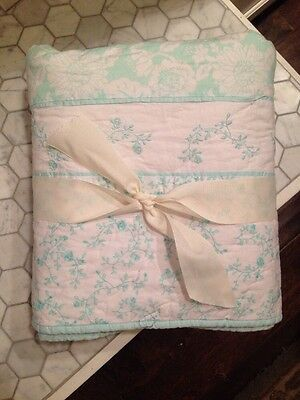 NWOT Pottery Barn Kids Aegean Alicia Baby Floral Embroidered Toddler Quilt