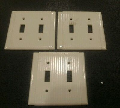3 Vintage Bakelite ? Ivory Deco P & S Double Light Switch Plate Cover Ribbed
