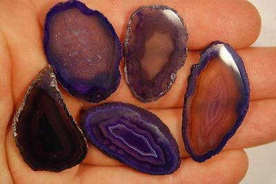 5 AGATE SLICES 24g Dyed Purple Healing Crystal Geode Gift Gemstone Polished