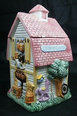 """Ceramic Country Crafts Barn Cookie Jar Building 9"""" X 4¾"""" Mint"""