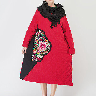 Jiqiuguer Chinese Women Winter Linen Embroidery Loose Quilted Coat with Pockets