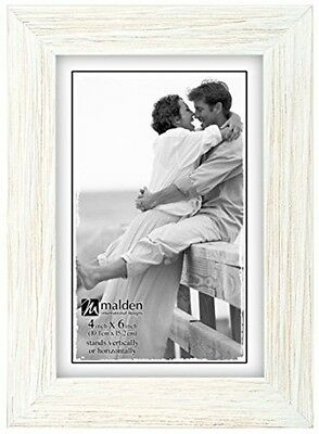 Malden International Designs Linear Rustic Wood Picture Frame, 4x6, Rough White