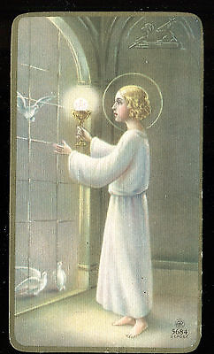 Antique  Holy Card Of Jesus With Birds