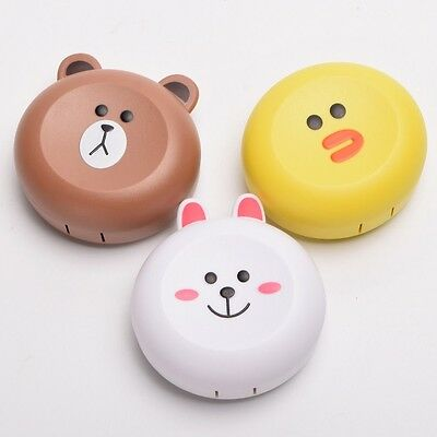 1pc  Lens Case With Mirror Travel Container Box Lovely Animal Pattern Contact