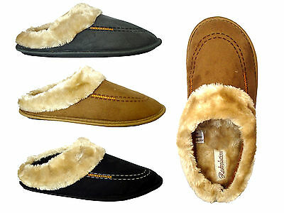 New Men's Classic Clog House Slipper Stylish Faux Fur Rubber Sole Warm -0250