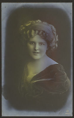 Young Lady in 3 Multi Colour Highlighted Poses. 3 x Vintage Carlton Postcards