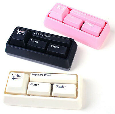 Keyboard Style Desk Stationary Set Punch Paperclip Dispenser Stapler Brush Hole