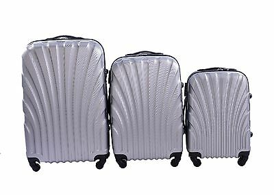 NEW 3 Pcs Luggage Travel Set Bag ABS Trolley Suitcase with Lock Silver Colors021