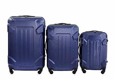 NEW 3 Pcs Luggage Travel Set Bag ABS Trolley Suitcase with Lock Blue Color