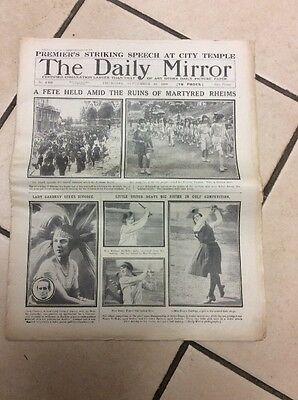 Daily Mirror Newspaper Complete Date Thursday 18th September 1919
