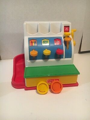 Vintage 1994 FISHER PRICE Money Cash Register  Working Bell with 2 coins