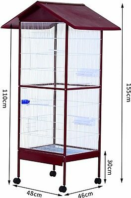 Large Parrot Cage Cockatiels African Macaw Parakeet Aviary with Wheels and Stand