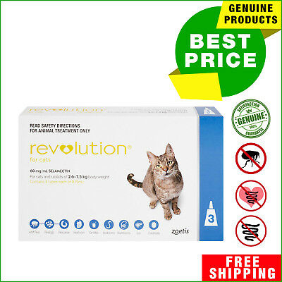 Revolution for Cats Flea Heartworm treatment Blue Pack 2.6 - 7.5 Kg 3 Pipettes