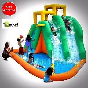 Double Water Slide Pool 2-Sprayers Inflatable Bounce House Bouncer P