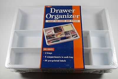 DV International Drawer Organizer Plastic For Home and Office Supplies (White)