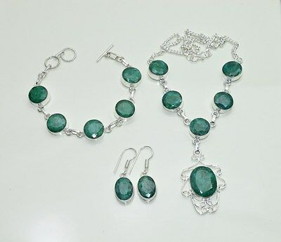 Wholesale 3Pc 925 Silver Plated Green Emerald Earring-Necklace-Bracelet Mix Lot.