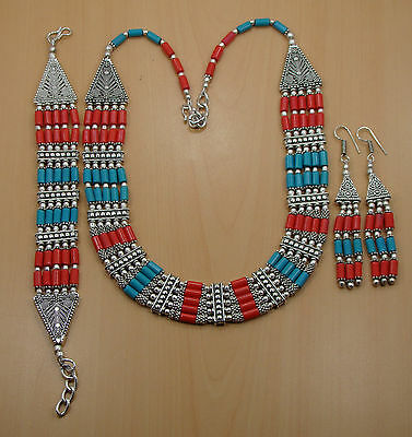 Wholesale 3Pc 925 Silver Plated Turquoise Beadedearring-Necklace-Bracelet Lot