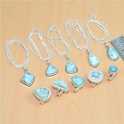Wholesale Lot 10Pc 925 Sterling Silver Plated Natural Larimar Ring,pendant Lot
