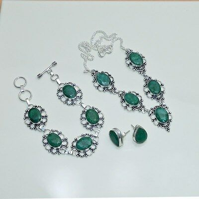 Wholesale 3Pc 925 Silver Plated Green Emerald Earring-Necklace-Bracelet Mix Lot