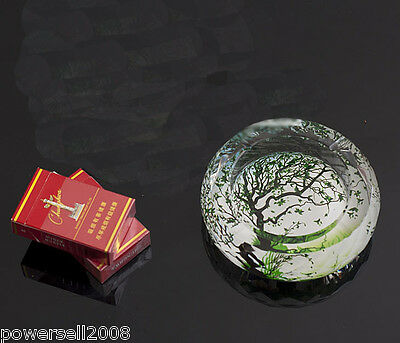 "Classic Polyhedral Shiny Crystal Glass Household Hotel Use Ashtray""Green Tree"""