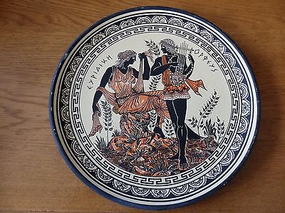 Greek  pottery plate Orpheus and Eurydice