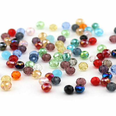 100PCS-4X6mm Crystal Glass Faceted Round Beads - Assorted Mixed QA5