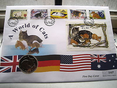 1996 Isle of Man FDC A world of Cats 1 Crown coin and stamps