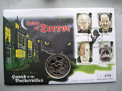 1997 FDC Tales of Terror Hounds of the Baskervilles Gibralter 1 Crown and stamps