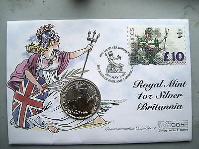 1998 UK FDC Silver Britannia coin and £ 10 Pound stamp Limited Edition 500