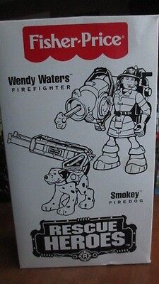 New Fisher Price Rescue Heroes Wendy Waters Firefighter Smokey Fire Dog
