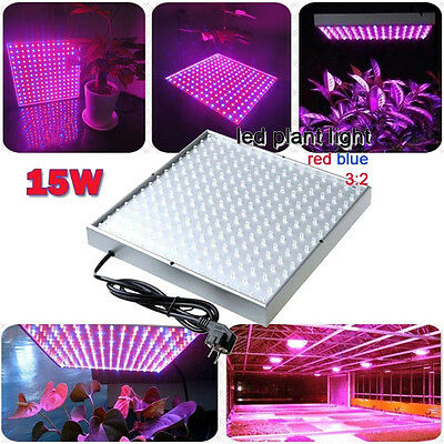 15W 225 LED Indoor Greenhouse Hydroponic Plant Grow Light Bulb Panel Board Lamp