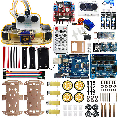 4WD Robot Car Kit UNO BLE4.0 IR Obstacle Avoid Line Follow iOS Android 4 Arduino