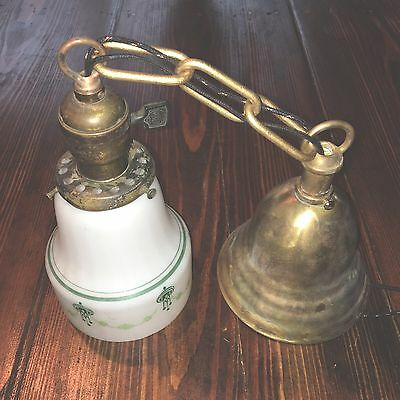 """18"""" Long Vintage Antique Pendant Light Brass Hubbell Socket Wired Great Look!!!"""