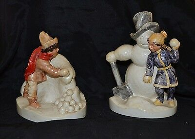 Lot 2 Vtg 70's SNOWBALL FIGHT Boy Girl Snowman Sebastian Miniatures P W Baston