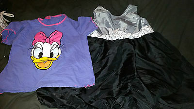 2 X Girls Clothing Disney Daisy Duck T Shirt  H&m Silky Dress With Bow Age 7-8
