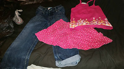 3 X Girls Clothing George Skirt Jeans And Top Age 4-7 Years