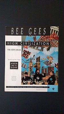 """The Bee Gees """"high Civilization""""  Rare Original Print Promo Poster Ad"""